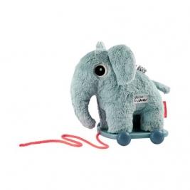 DONE BY DEER minkštas žaislas ant ratukų ELPHEE BLUE