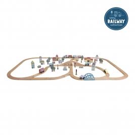 LITTLE DUTCH medinis geležinkelio rinkinys RAILAY TRAIN XXL