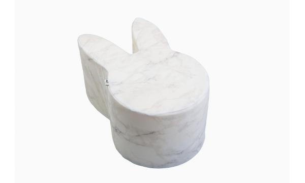 MISIOO minkštas pufas RABBIT VELVET WHITE MARBLE
