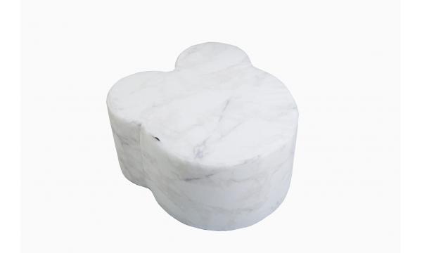 MISIOO minkštas pufas TEDDYBEAR VELVET WHITE MARBLE
